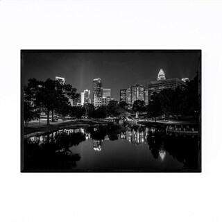 Noir Gallery Black & White Charlotte Skyline Framed Art Print