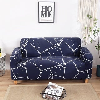 Enova Home Dark Blue Elegant Polyester and Spandex Stretch Washable Box Cushion Loveseat Slipcover