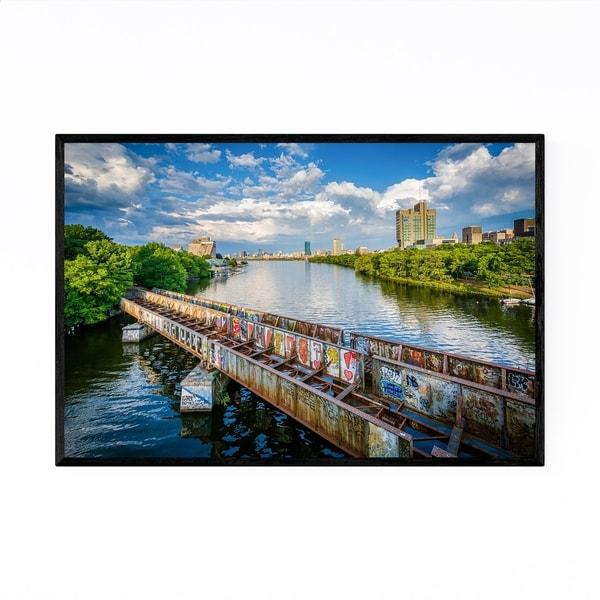 Noir Gallery Boston Graffiti Charles River Framed Art Print