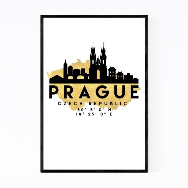 Noir Gallery Minimal Prague Skyline Framed Art Print