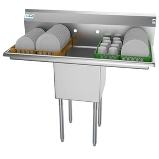KoolMore 45-Inch Stainless Steel Commercial Kitchen Prep and Utility Sink - 2 Drainboard