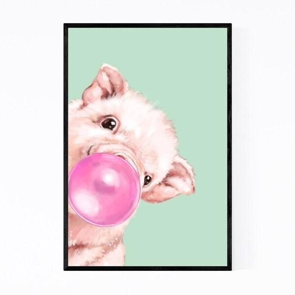 Noir Gallery Pink Baby Pig Peekaboo Animal Framed Art Print