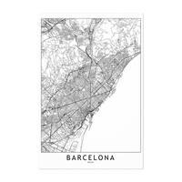 Noir Gallery Barcelona Black & White City Map Unframed Art Print/Poster