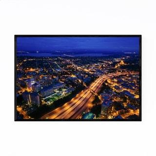 Noir Gallery Seattle Skyline Cityscape Night Framed Art Print