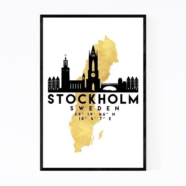 Noir Gallery Minimal Stockholm Skyline Framed Art Print
