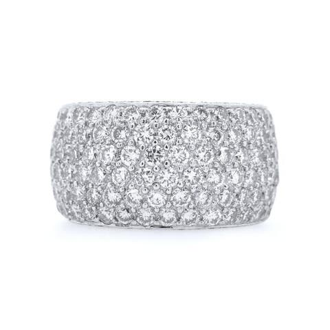 Platinum 8ct Diamond Vintage Pave Band Ring (H - I,VS1 - VS2) Size - 6.25