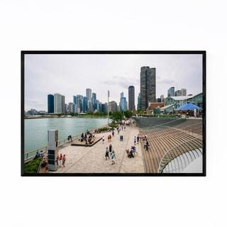 Noir Gallery Chicago City Navy Pier Skyline Framed Art Print