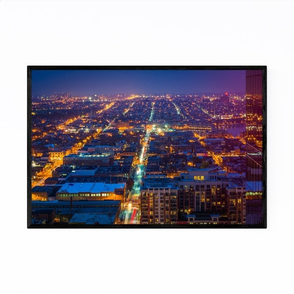 Noir Gallery Baltimore Skyline Cityscape Framed Art Print