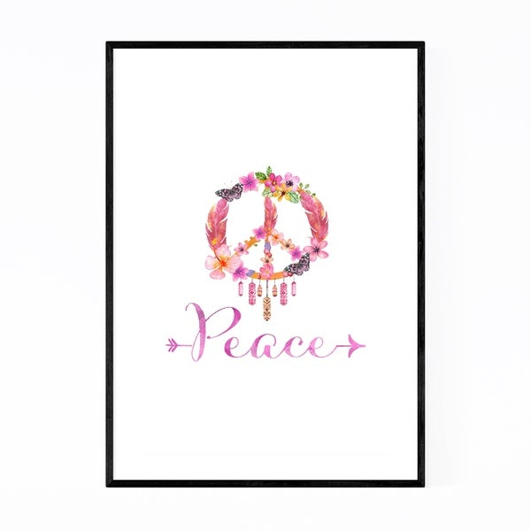 Noir Gallery Peace Quote Symbol Floral Framed Art Print