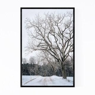 Noir Gallery Winter Snow Road Forest Nature Framed Art Print