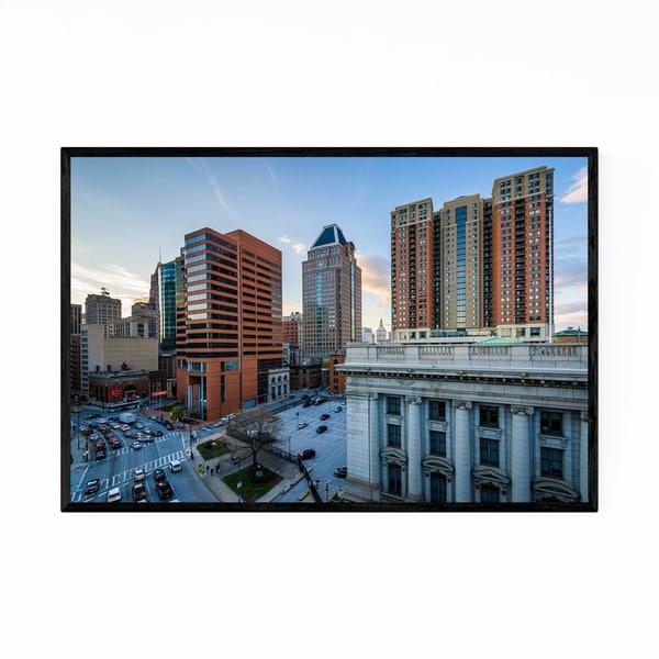 Noir Gallery Downtown Baltimore, MD Skyline Framed Art Print