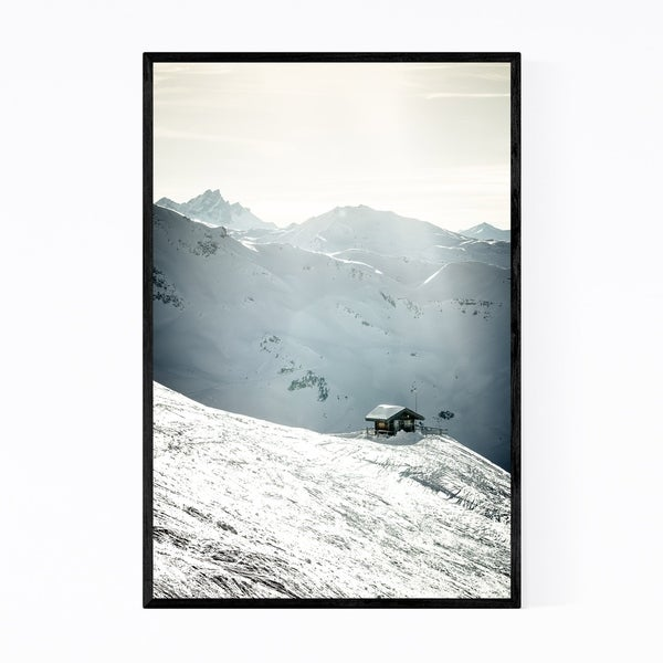 Noir Gallery Winter Hut French Alps Mountains Framed Art Print
