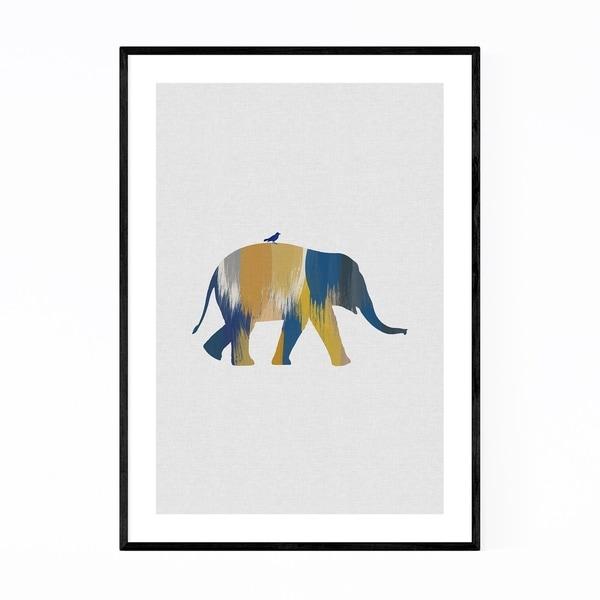 Noir Gallery Abstract Blue Elephant Animal Framed Art Print