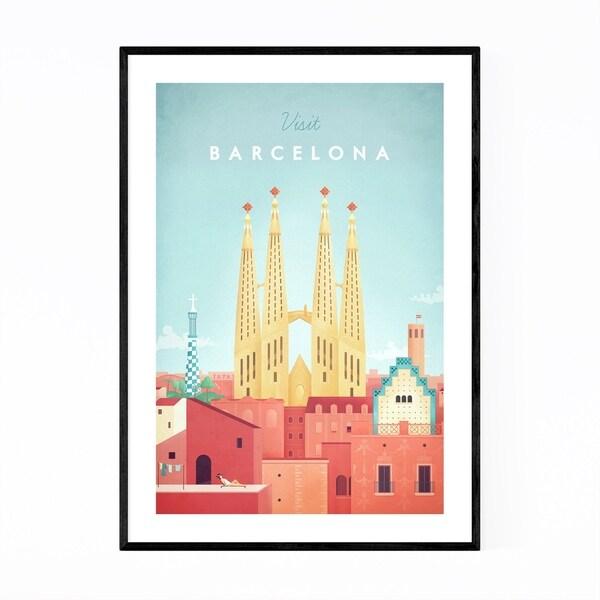 Noir Gallery Minimal Travel Poster Barcelona Framed Art Print