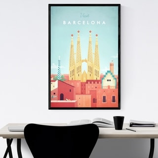 Noir Gallery Minimal Travel Poster Barcelona Framed Art Print
