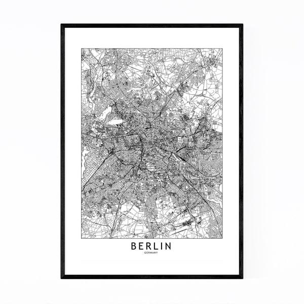 Noir Gallery Berlin Black & White City Map Framed Art Print