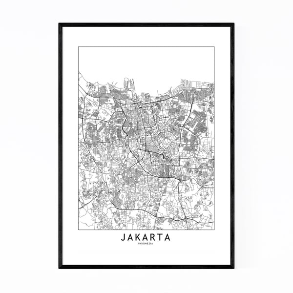 Noir Gallery Jakarta Black & White City Map Framed Art Print