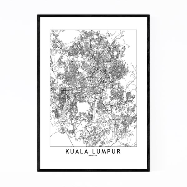 Noir Gallery Kuala Lumpur Black & White Map Framed Art Print