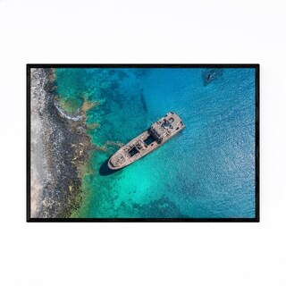 Noir Gallery Canary Islands Shipwreck Aerial Framed Art Print