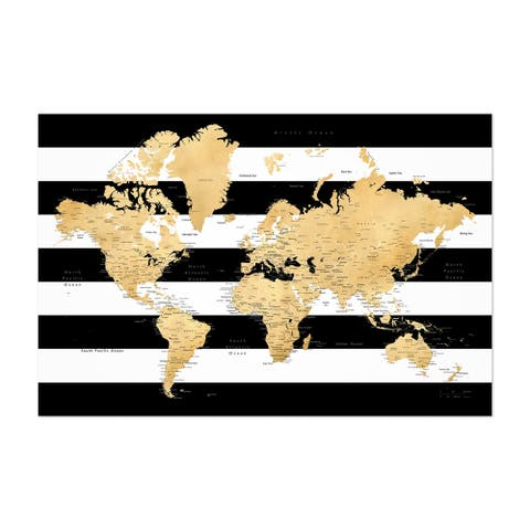 Noir Gallery Gold World Map with Cities Unframed Art Print/Poster