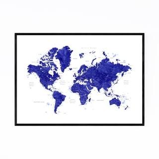 Noir Gallery Blue Watercolor World Map  Framed Art Print