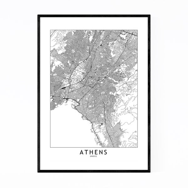 Noir Gallery Athens Black & White City Map Framed Art Print