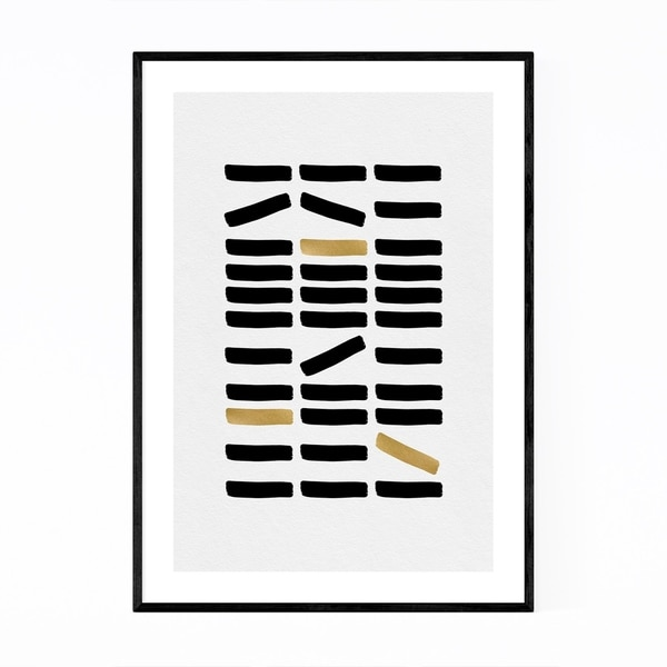 Noir Gallery Minimal Abstract Gold Foil Line Framed Art Print