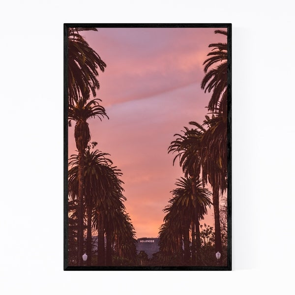 Noir Gallery Hollywood Sign Sunset Palm Trees Framed Art Print