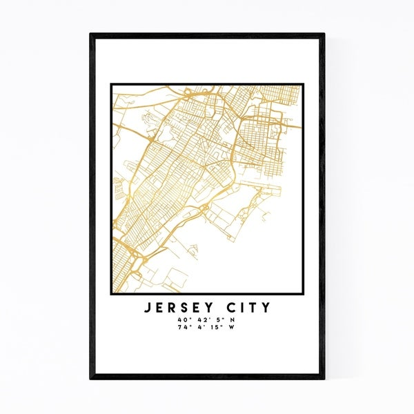 Noir Gallery Minimal Jersey City City Map Framed Art Print