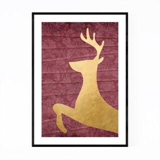 Noir Gallery Rustic Gold Deer Buck Animal  Framed Art Print