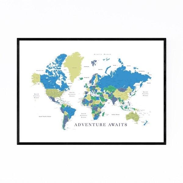 Noir Gallery Green Blue World Map Adventure Framed Art Print