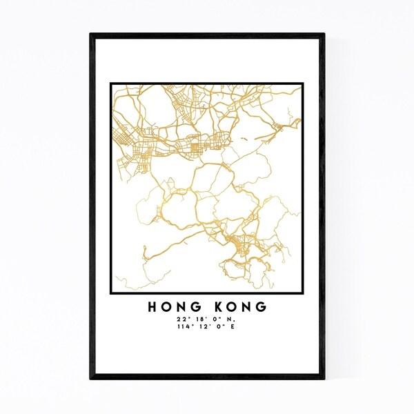 Noir Gallery Minimal Hong Kong City Map Framed Art Print