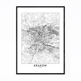 Noir Gallery Krakow Black & White City Map Framed Art Print