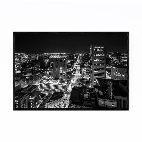 Noir Gallery Downtown Baltimore Skyline Framed Art Print