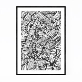 Noir Gallery Black & White Banana Leaf  Framed Art Print