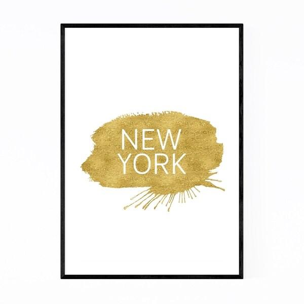 Noir Gallery New York Gold Paint Splash Framed Art Print