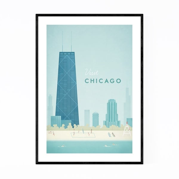 Noir Gallery Minimal Travel Poster Chicago Framed Art Print