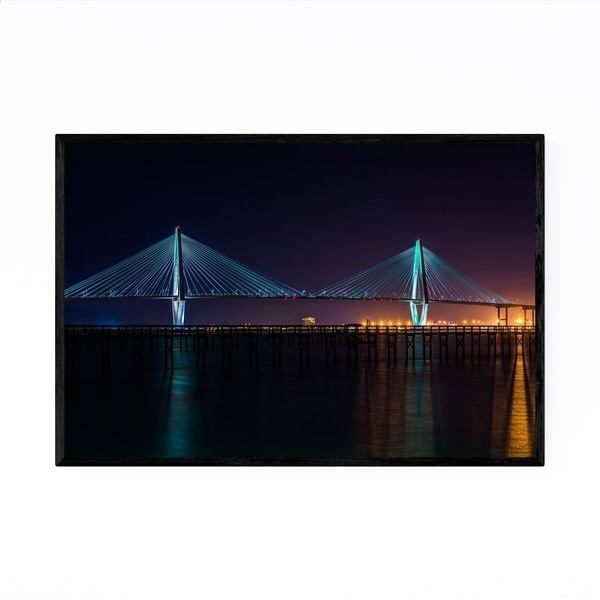 Noir Gallery Charleston South Carolina Bridge Framed Art Print