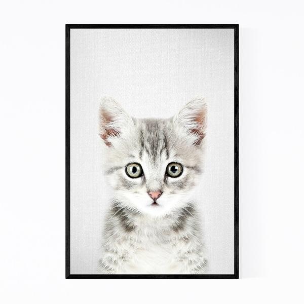 Noir Gallery Kitten Peeking Nursery Animal Framed Art Print