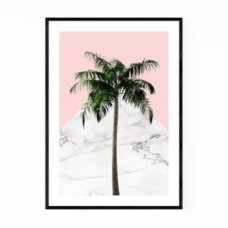 Noir Gallery Minimal Palm Tree Plant Pink Framed Art Print