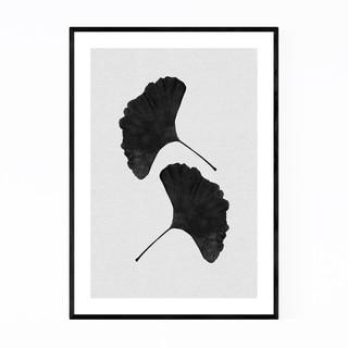 Noir Gallery Black & White Ginkgo Minimal Framed Art Print