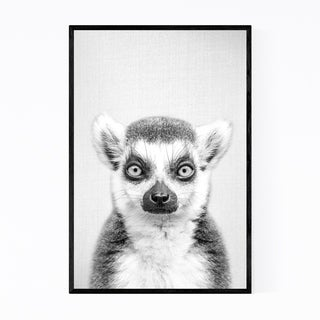 Noir Gallery Lemur Peeking Nursery Animal Framed Art Print