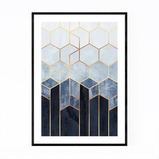 Noir Gallery Abstract Art Deco Geometric Blue Framed Art Print