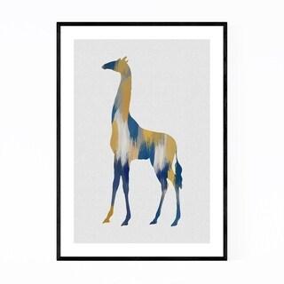 Noir Gallery Abstract Blue Giraffe Painting Framed Art Print