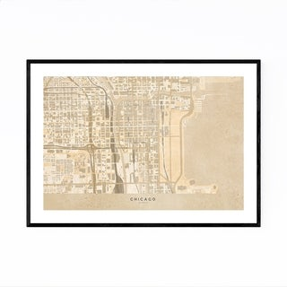 Noir Gallery Minimal Chicago Sepia City Map Framed Art Print
