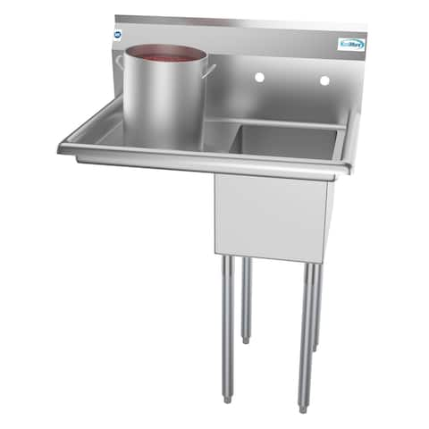 KoolMore 31-Inch Stainless Steel Commercial Kitchen Prep and Utility Sink - Left Drainboard