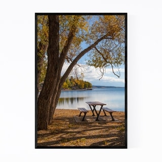 Noir Gallery Bench Autumn Color Lake Nature Framed Art Print