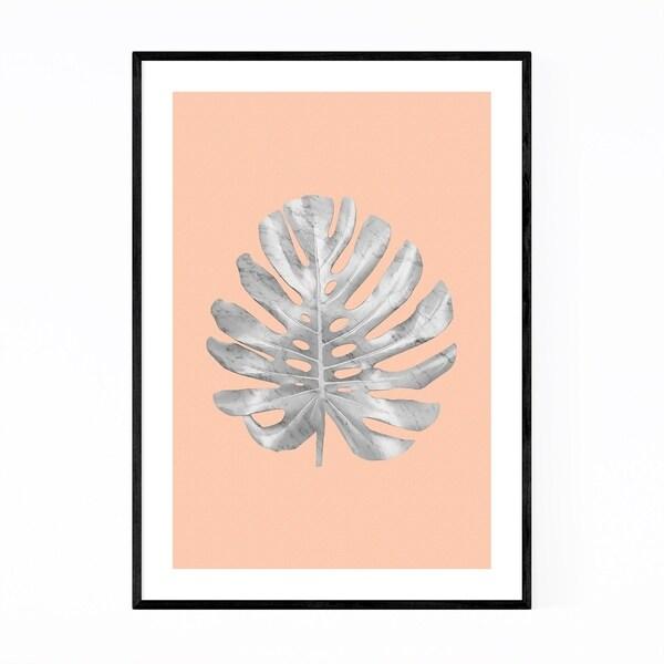 Noir Gallery Minimal White Marble Monstera Framed Art Print