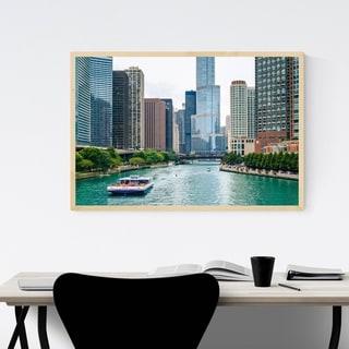 Noir Gallery Chicago Skyline Cityscape Photo Framed Art Print