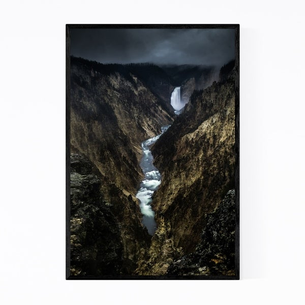 Noir Gallery Yellowstone Lower Falls Wyoming Framed Art Print